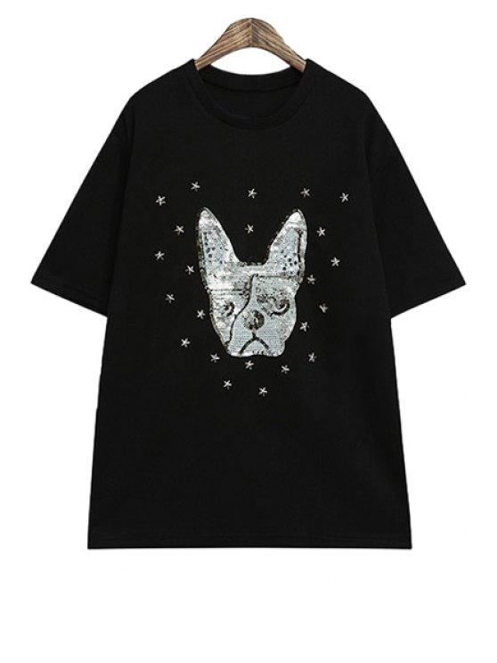 online Star Rivet Sequins Dog Pattern T-Shirt - BLACK ONE SIZE(FIT SIZE XS TO M)