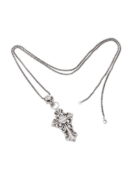 outfits Classic Skeleton Cross Sweater Chain Necklace - SILVER