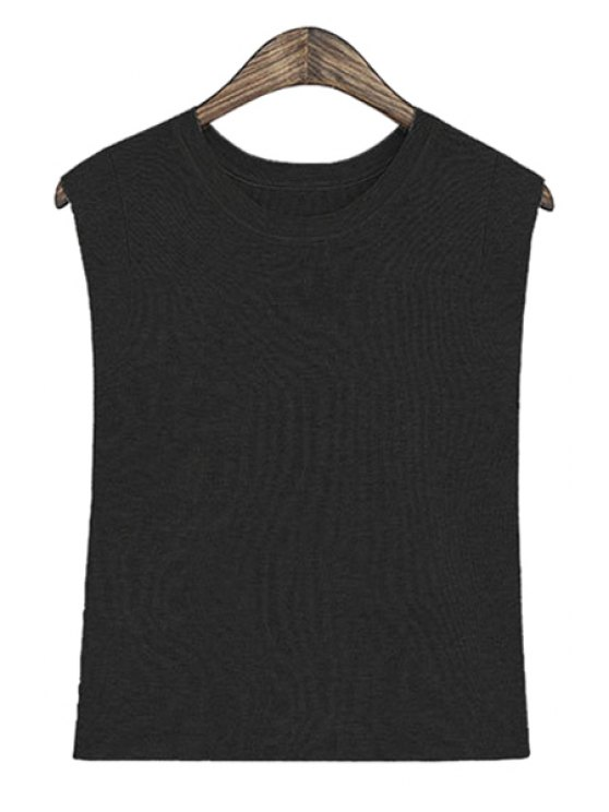 chic Solid Color Sleeveless Tank Top - BLACK