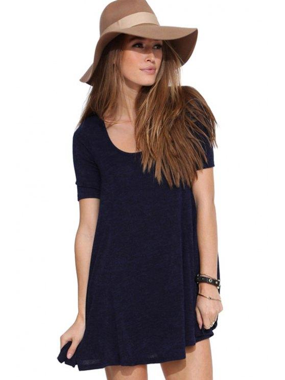 shop Purplish Blue Short Sleeve Dress - PURPLISH BLUE S