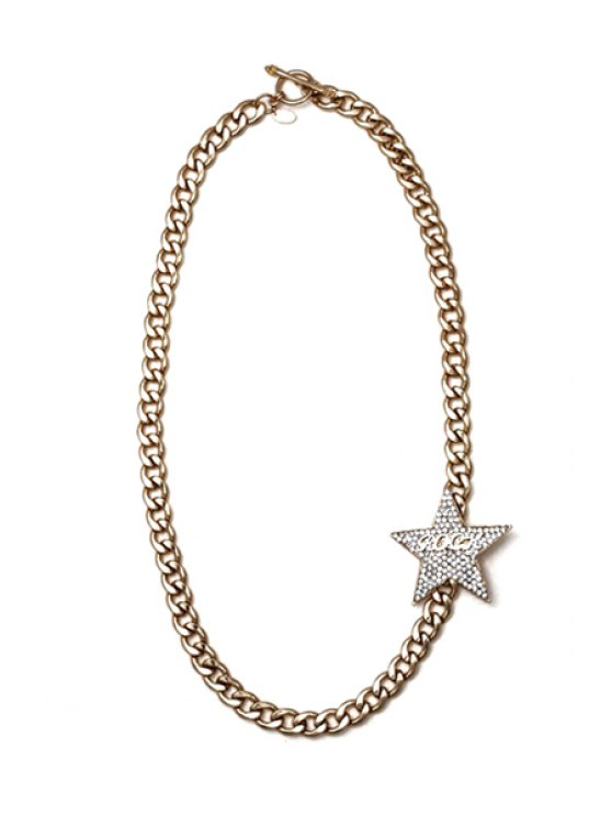latest Stylish Rhinestone Star Letter Sweater Chain Necklace - GOLDEN