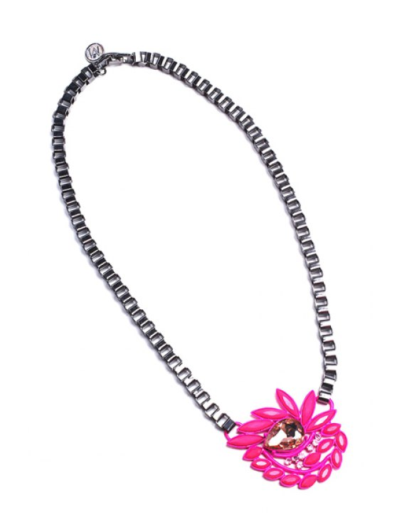 latest Cute Rhinestone Resin Flower Necklace - RED