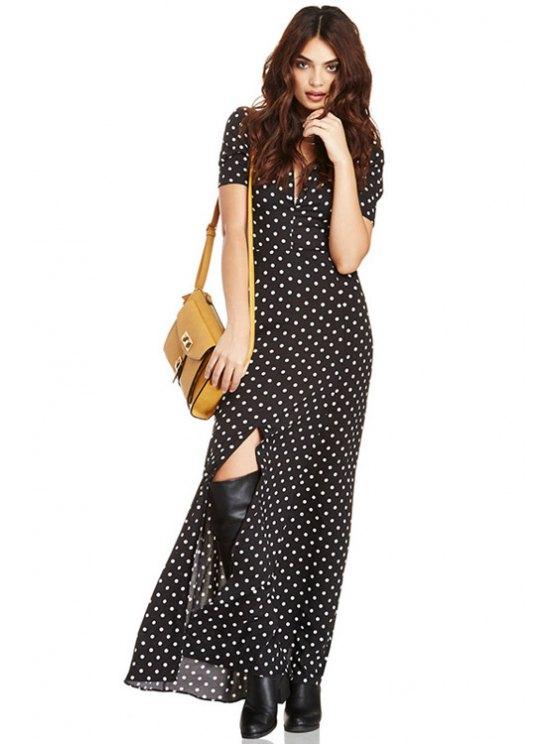 sale Polka Dot Short Sleeve Maxi Dress - BLACK S