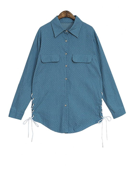 fancy Hole Tie-Up Long Sleeve Shirt - DEEP BLUE ONE SIZE(FIT SIZE XS TO M)