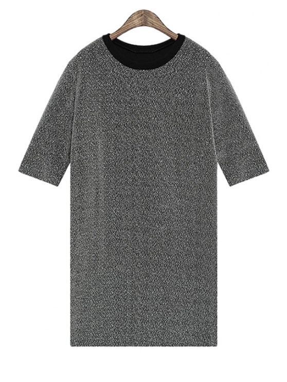 women's Straight Short Sleeve Dress - GRAY ONE SIZE(FIT SIZE XS TO M)