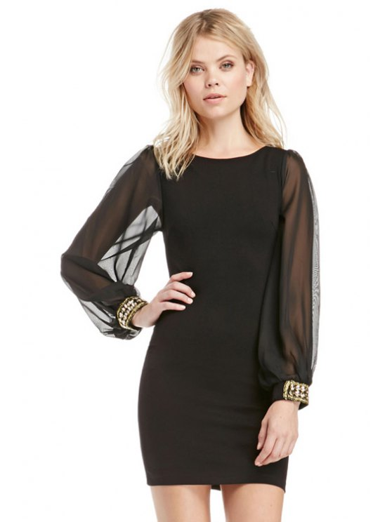 lady Black Long Sleeve Bodycon Dress - BLACK S