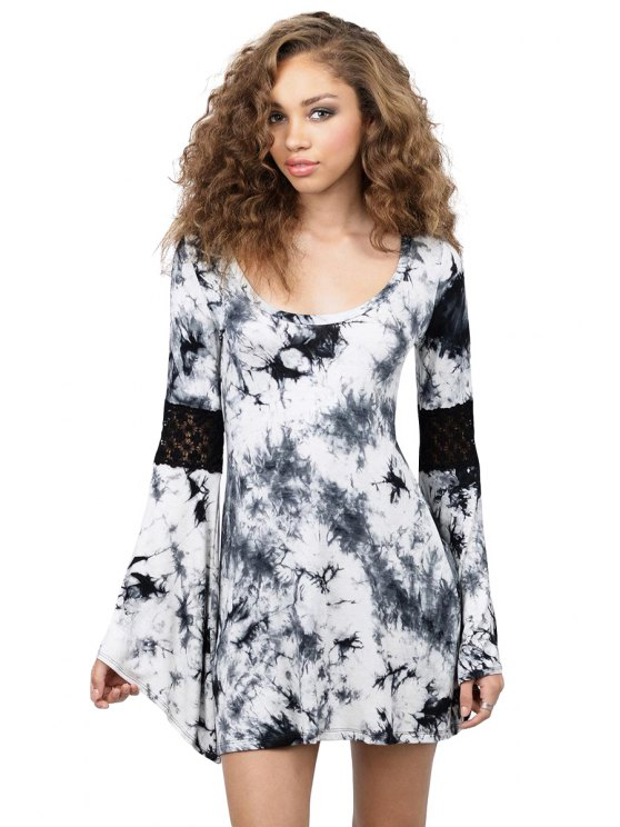 hot Print Long Flare Sleeve Dress - BLACK M