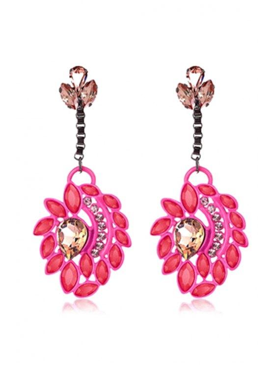 shop Sweet Rhinestone Flower Pendant Earrings - RED