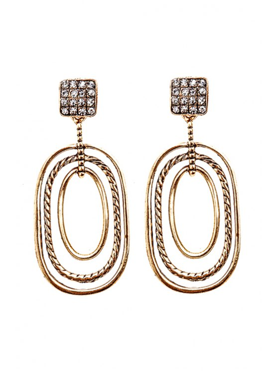 trendy Chic Rhinestone Geometric Pendant Earrings - GOLDEN