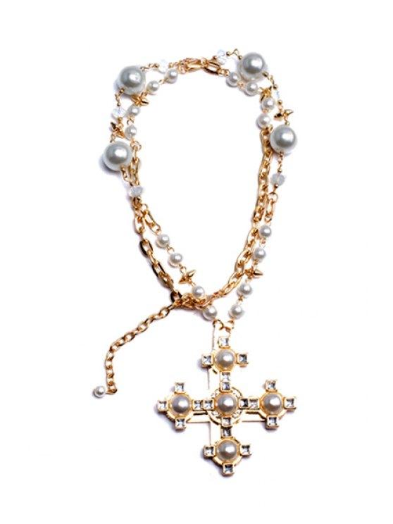 fashion Chic Rhinestone Faux Pearl Cross Sweater Chain Necklace - GOLDEN
