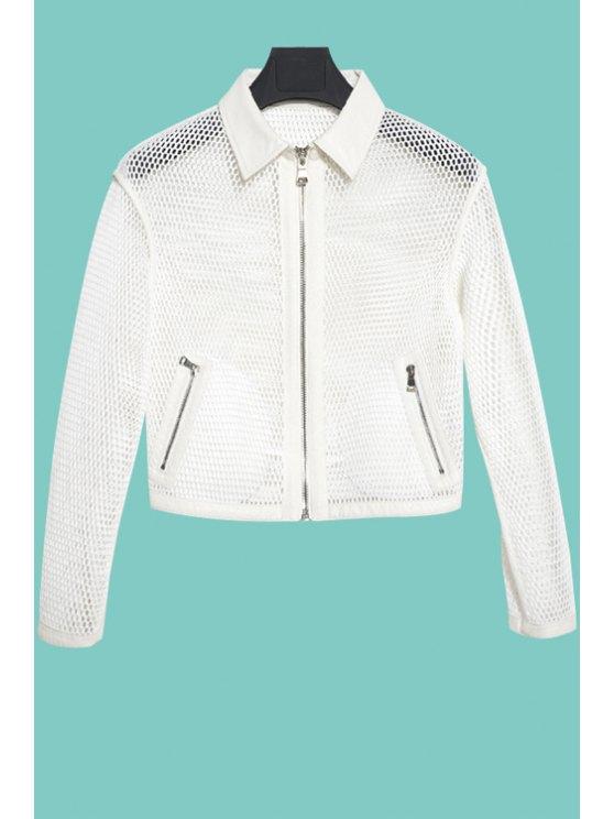buy Mesh Openwork Solid Color Coat - WHITE S