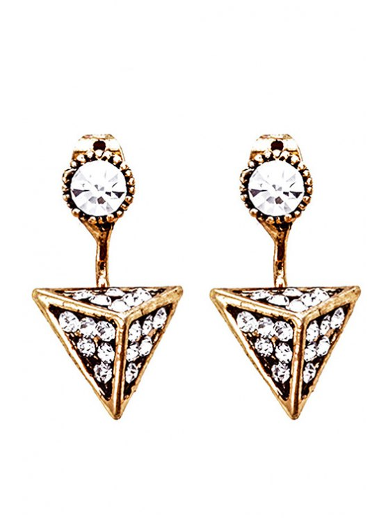 buy Retro Rhinestone Triangle Earrings - GOLDEN