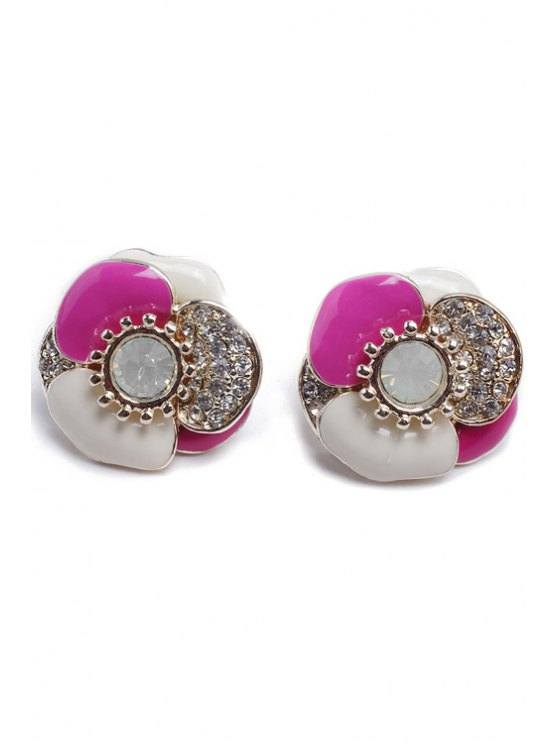 women Cute Rhinestone Leaf Earrings - PINK