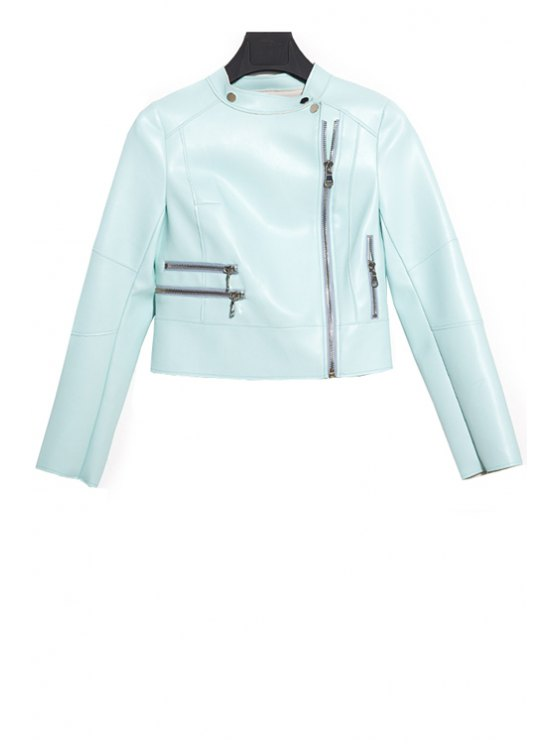 ladies Solid Color PU Leather Coat - BLUE M