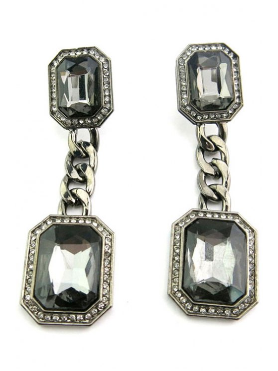 best Retro Faux Gem Square Earrings - BLACK