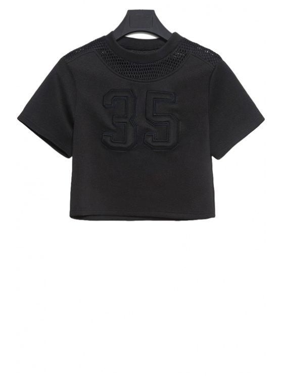 trendy Mesh Openwork Figure Pattern T-Shirt - BLACK M