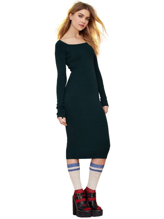 women's Solid Color Knit Long Sleeve Dress - BLACKISH GREEN S