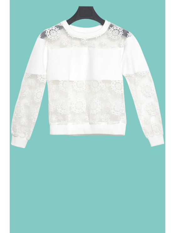 affordable Solid Color Voile See-Through T-Shirt - WHITE S