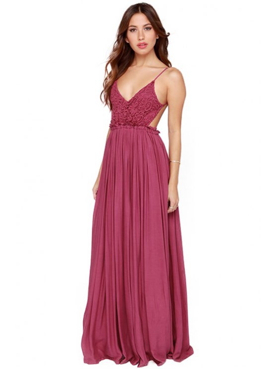 outfits Crochet Splicing Spaghetti Straps Dress - WINE RED S