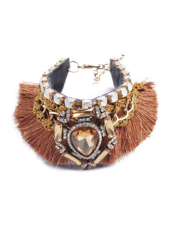 women Drop Rhinestone Inlaid Handmade Weaved Bracelet - COFFEE
