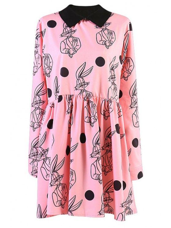 best Cartoon Rabbit Print Dress - PINK ONE SIZE(FIT SIZE XS TO M)
