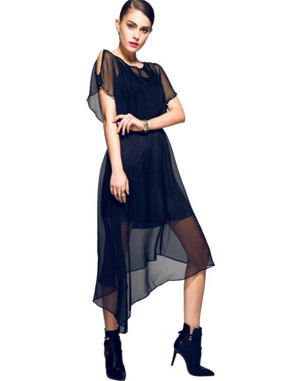 buy Solid Color Rivet Asymmetrical Dress - BLACK S