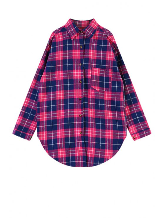 hot Letter Print Plaid Shirt - RED ONE SIZE(FIT SIZE XS TO M)