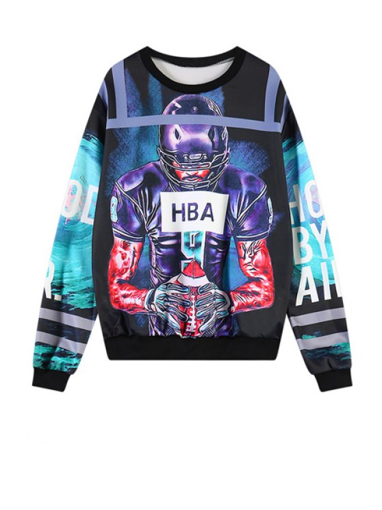 online Rugby Player Print Sweatshirt - COLORMIX ONE SIZE(FIT SIZE XS TO M)