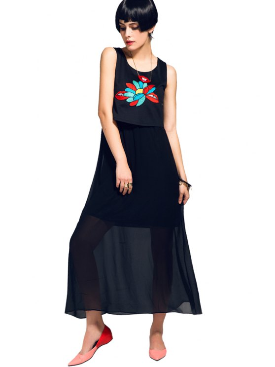 affordable Embroidery Splicing Sleeveless Dress - BLACK M
