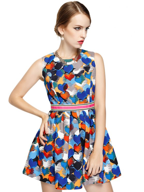 latest Colorful Heart Print Sleeveless Dress - COLORMIX S