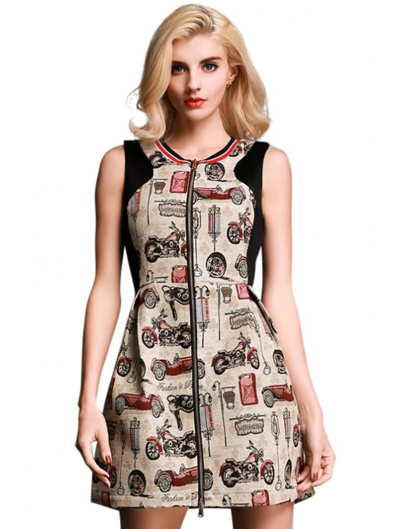 unique Motorcycle Print Zipper Sleeveless Dress - COLORMIX S