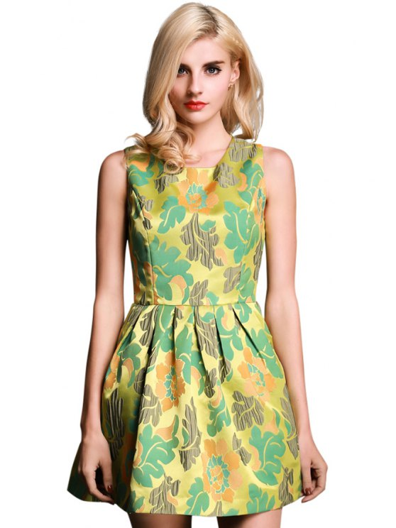 outfits Floral Print Ruffle Sleeveless Dress - YELLOW S