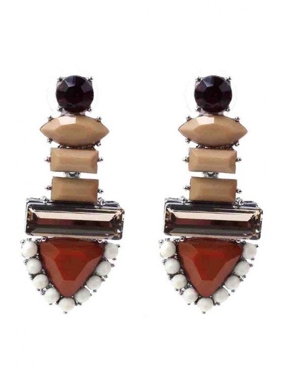 online Colored Rhinestone Triangle Earrings - COFFEE