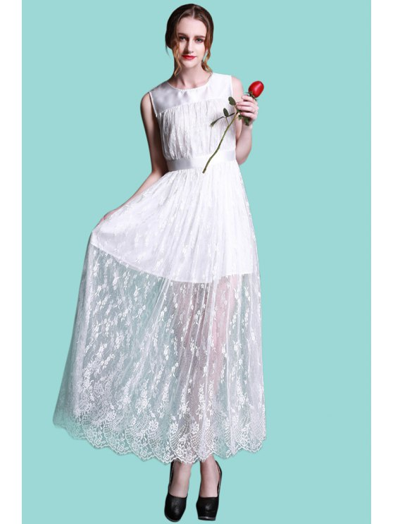 online Solid Color Lace See-Through Dress - WHITE S