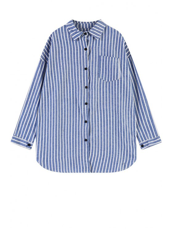 lady Letter Print Striped Shirt - BLUE ONE SIZE(FIT SIZE XS TO M)