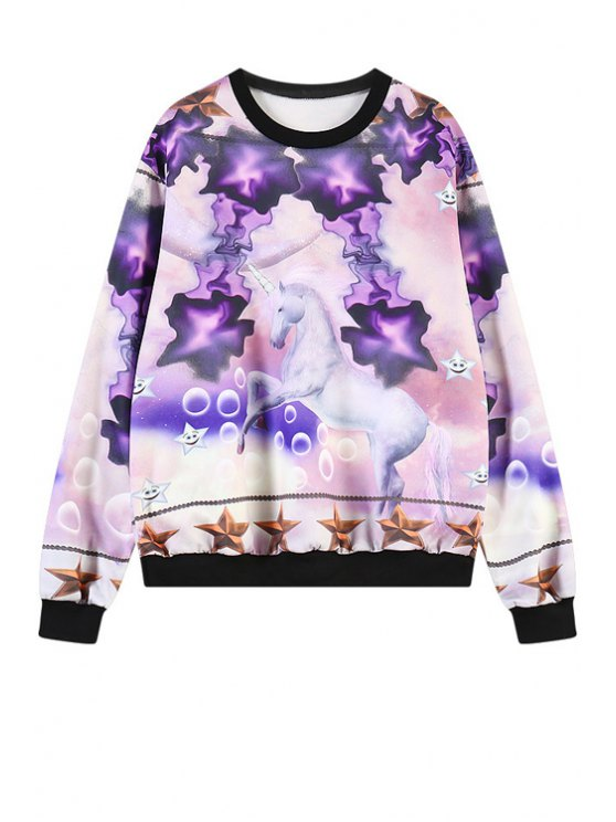 chic Horse Print Long Sleeves Sweatshirt - PURPLE ONE SIZE(FIT SIZE XS TO M)