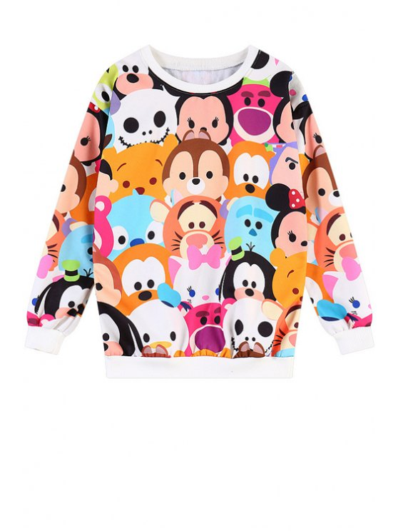 sale Cartoon Pattern Long Sleeves Sweatshirt - COLORFUL ONE SIZE(FIT SIZE XS TO M)