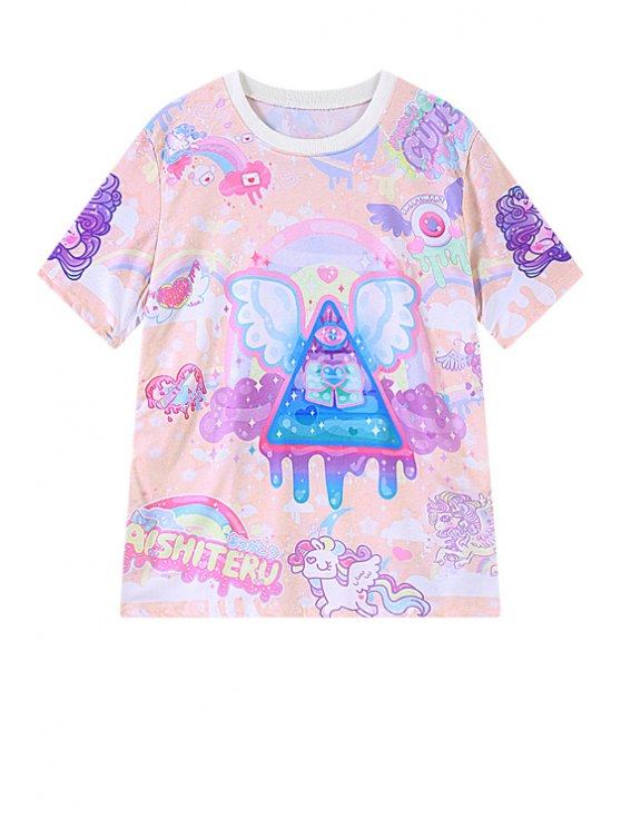 trendy Colorful Print Short Sleeve T-Shirt - PINK ONE SIZE(FIT SIZE XS TO M)