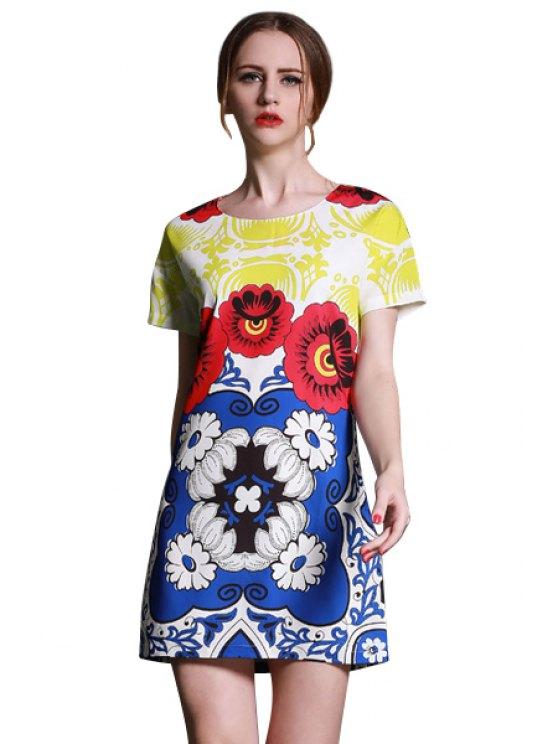 fancy Color Block Floral Print Dress - YELLOW S