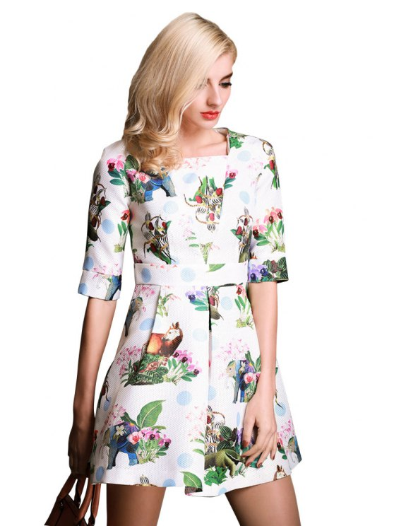latest Square Collar Floral Print Dress - WHITE XL