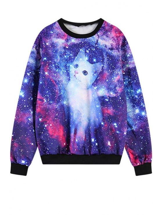 ladies Kitten Print Long Sleeves Sweatshirt - PURPLE ONE SIZE(FIT SIZE XS TO M)