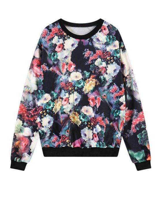 online Colorful Floral Print Sweatshirt - COLORMIX ONE SIZE(FIT SIZE XS TO M)