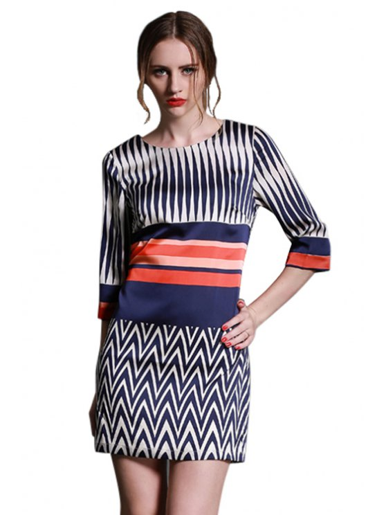 chic Stripe Color Block 3/4 Sleeve Dress - BLUE AND WHITE S
