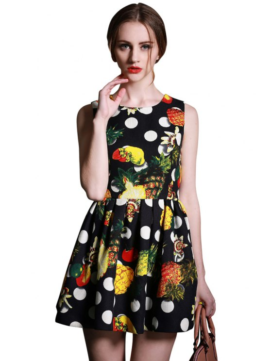 affordable Fruit Print Sleeveless Dress - COLORMIX S