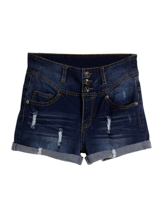 lady Three Buttons Denim Shorts - DEEP BLUE 34
