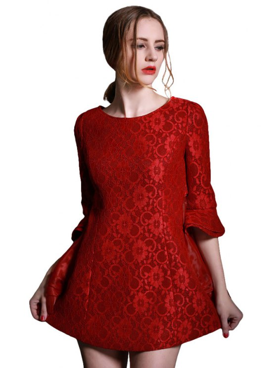 hot Voile Splicing Back Bowknot Dress - RED S