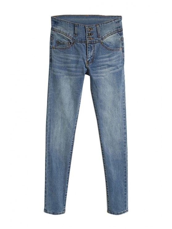 women Three Buttons Narrow Feet Jeans - LIGHT BLUE 34