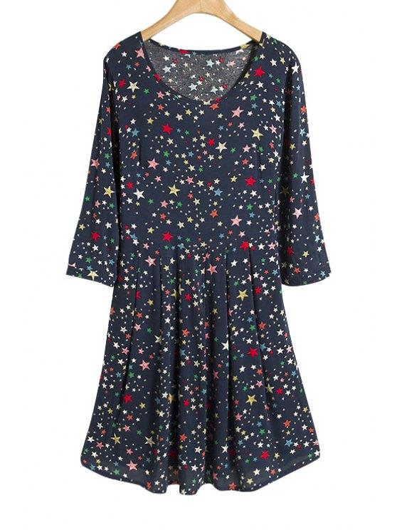 fancy Full Star Print 3/4 Sleeve Dress - PURPLISH BLUE S
