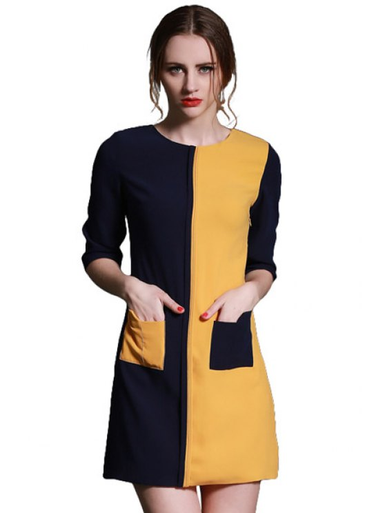 chic Color Block Splicing Pockets Dress - YELLOW S