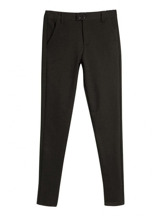 latest Solid Color Slimming Pants - BLACK S